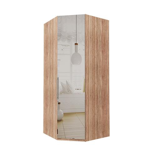 Hjørne Atlanta garderobe 216 cm, Speil, Lys rustikk eik