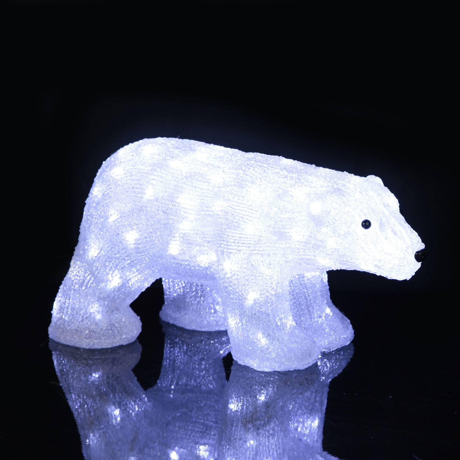 LED-valojääkarhu Crystalo, ulos, pituus 49,5 cm