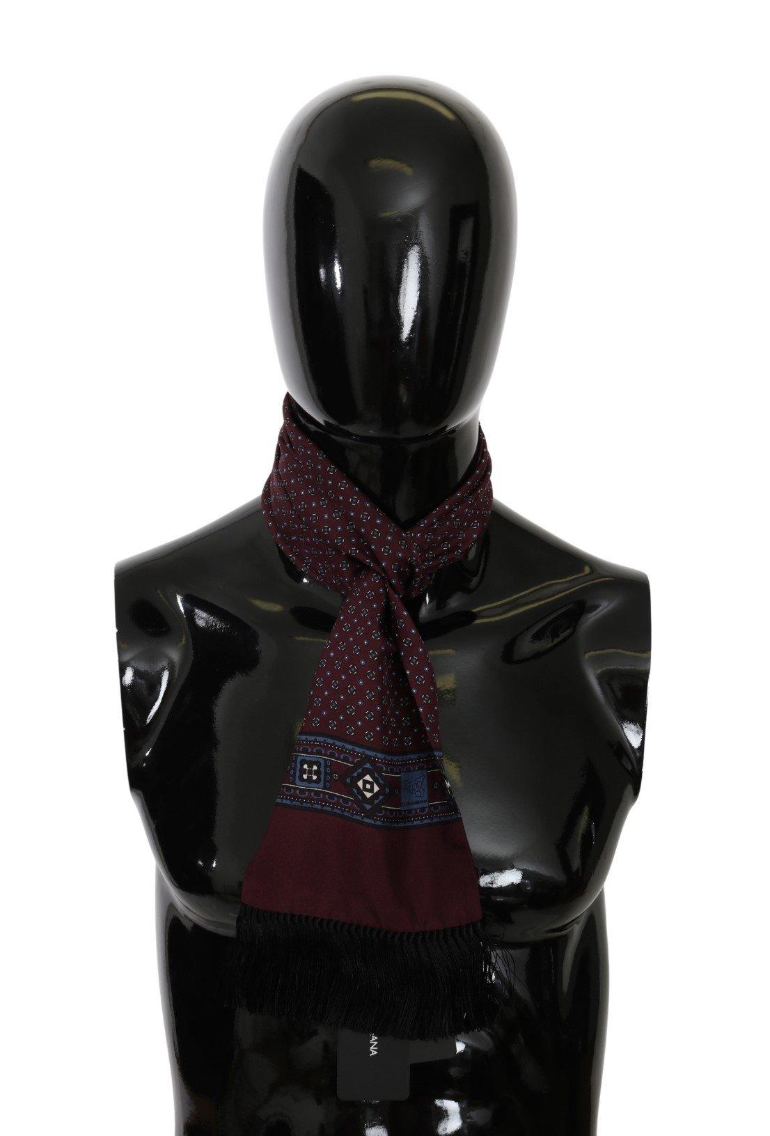 Dolce & Gabbana Men's Baroque Fringe Wrap Silk Scarf Bordeaux MS5573