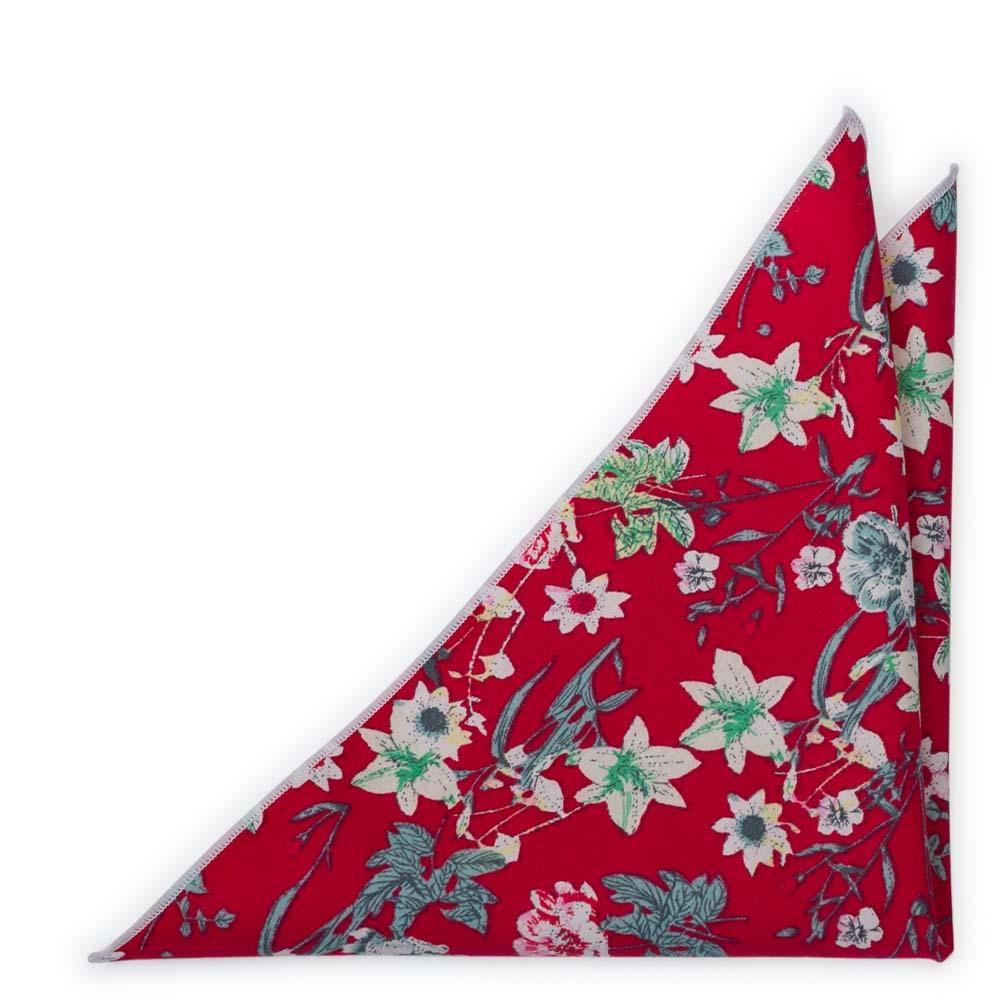 Bomull Lommetørkler, Hvit, rosa & grønne blomster på intens rød, Rød, Blomster