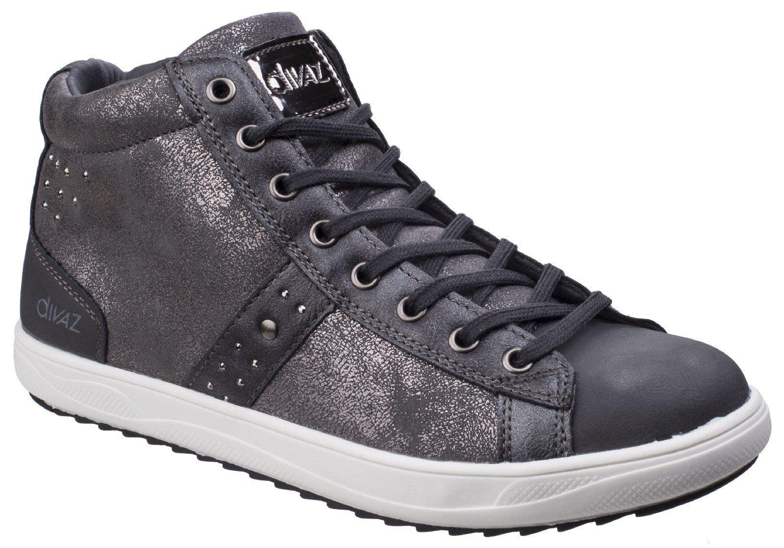 Divaz Women's Steffy Metallic Trainer Boot Black 25569-42559 - Grey 3