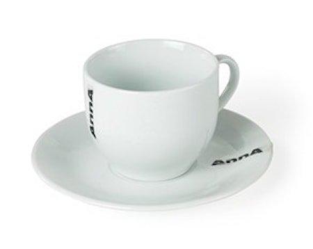 Kopp med fat, Hvit porselen 20 cl