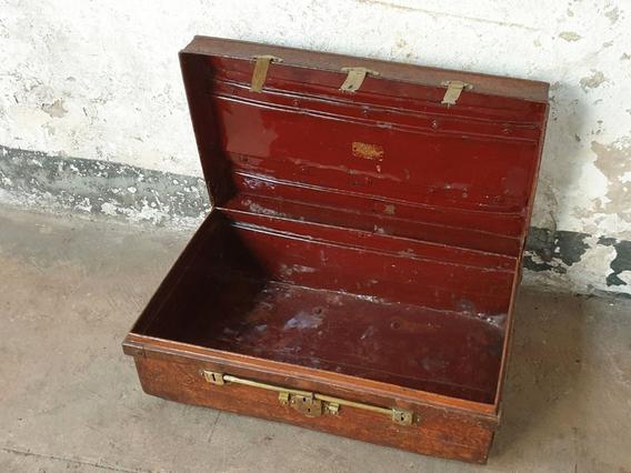 Vintage Metal Travel Suitcase Brown