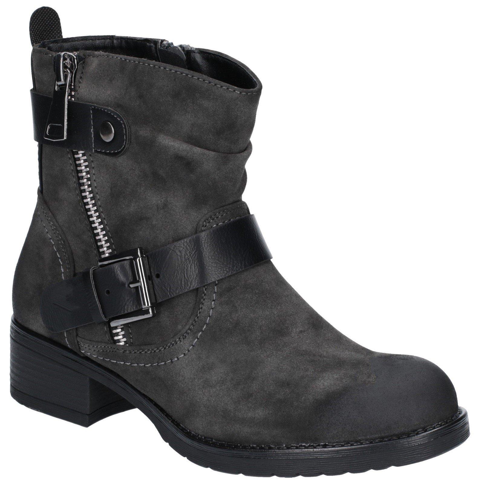 Divaz Women's Jett Zip Up Boot Brown 27166-45651 - Dark Grey 3