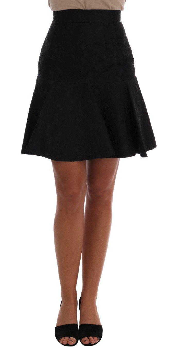 Dolce & Gabbana Women's Floral Jacquard Silk A-Line Skirt Black SKI1093 - IT36   XS