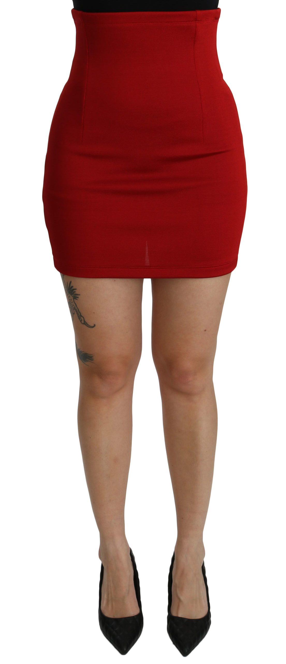 Dolce & Gabbana Women's High Waist Mini Viscose Skirt Red SKI1379 - IT40|S