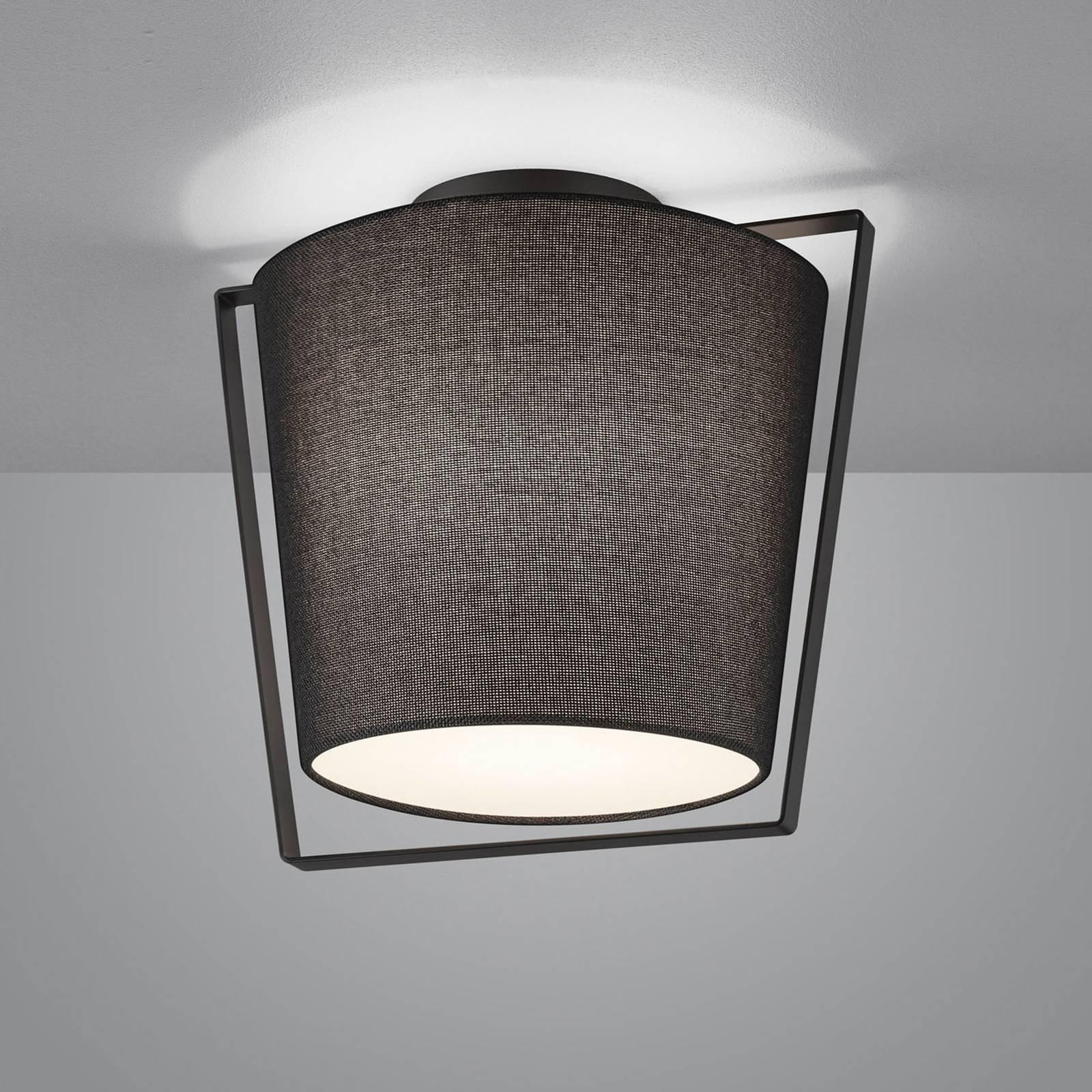 Helestra Uka taklampe, tekstilskjerm, svart