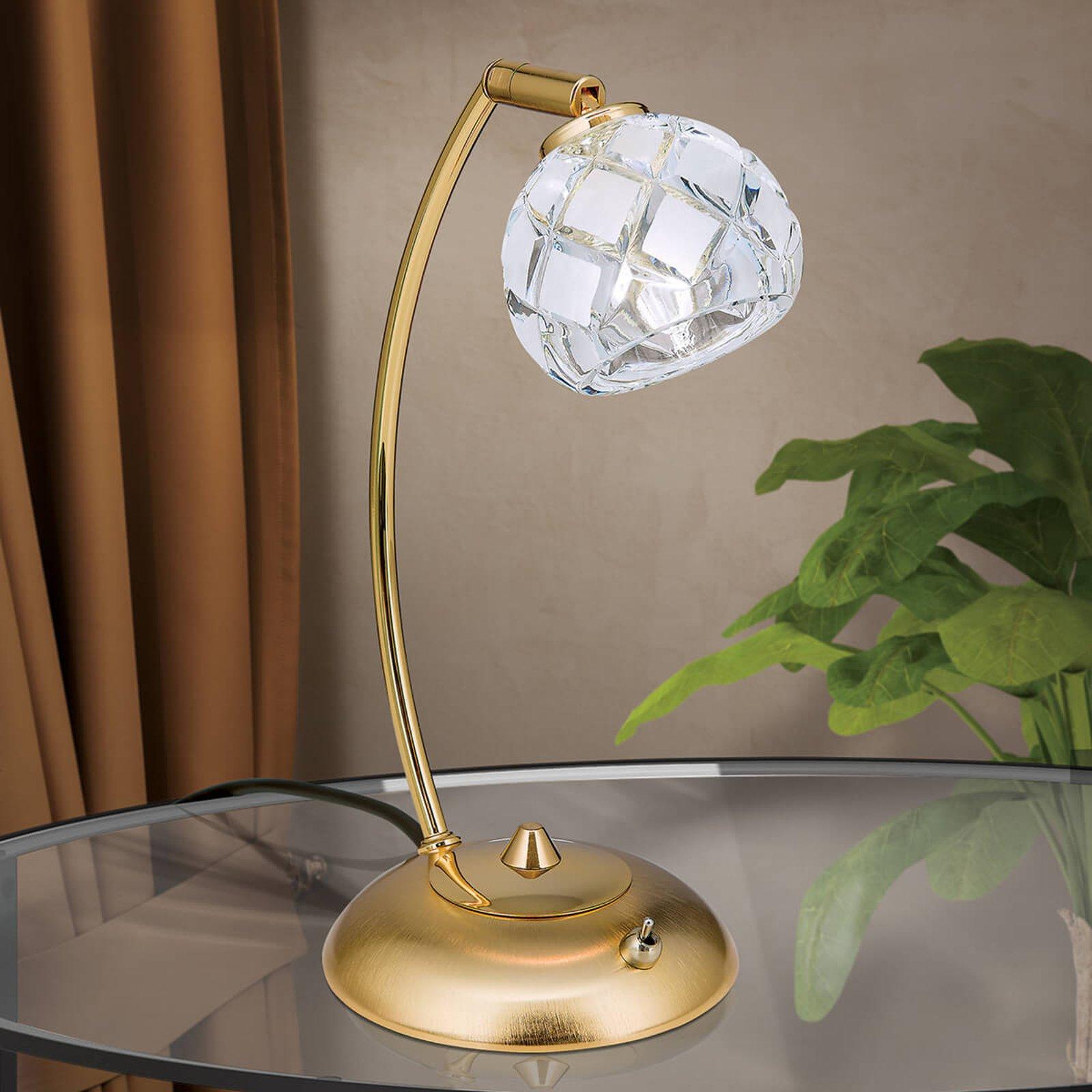 Blykrystall-bordlampe Maderno, gull