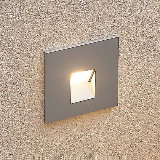 Arcchio Vexi LED-innfellingslampe, kantet, sølv