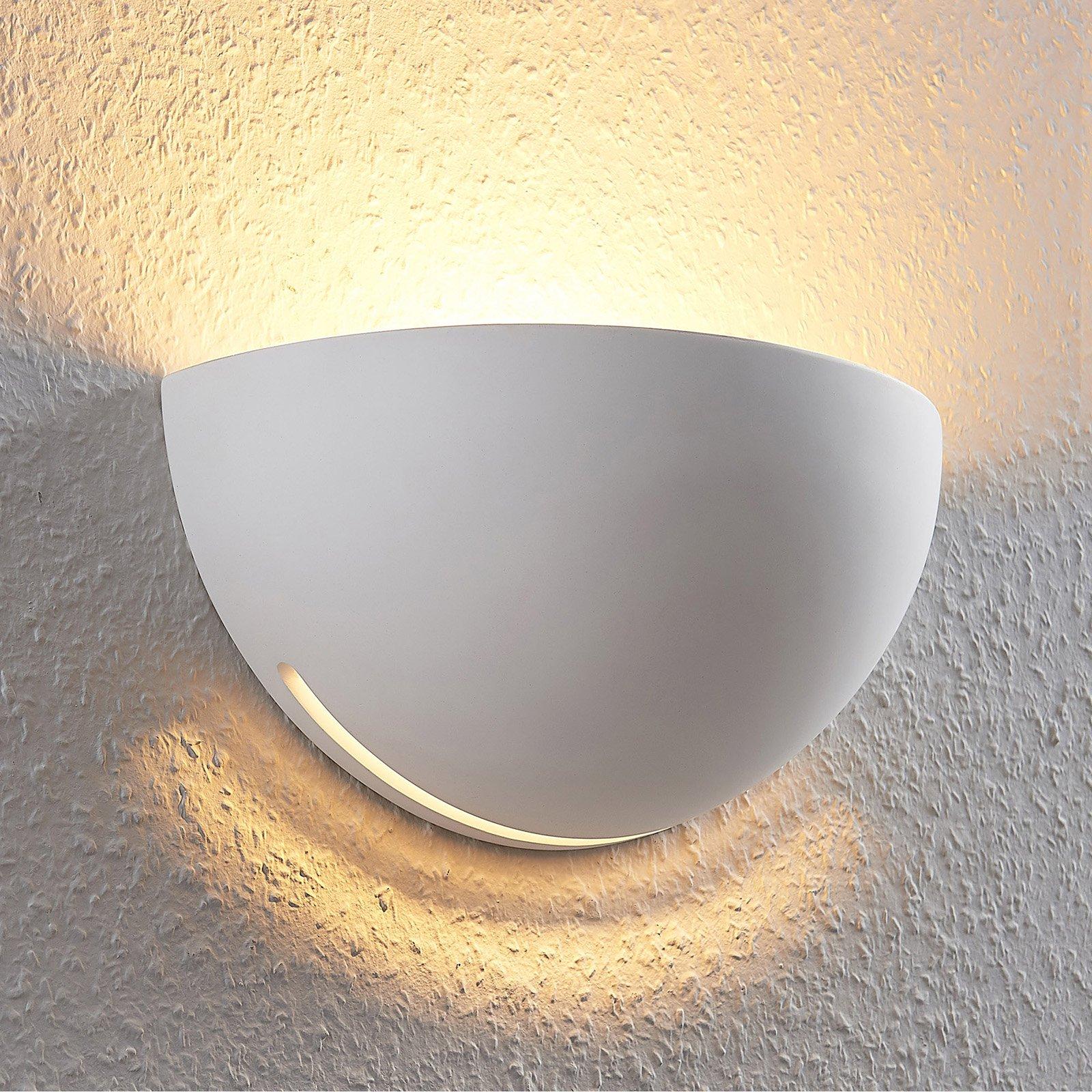 Vegglampe uplight i gips Jaron, hvit, halvrund