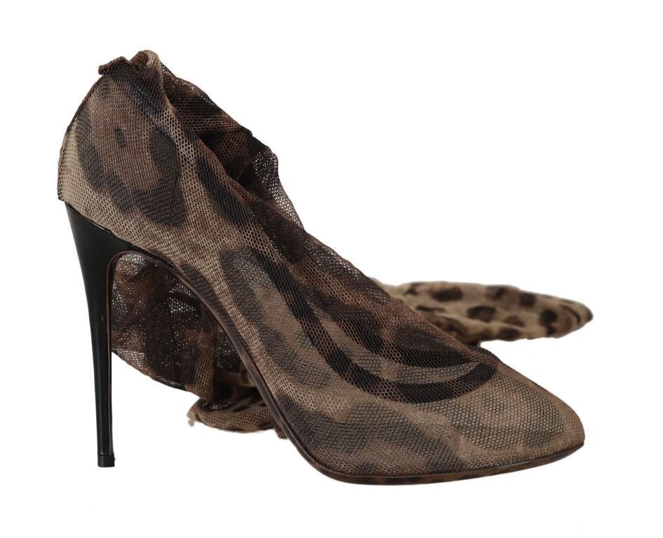 Dolce & Gabbana Women's Leopard Tulle Long Socks Pumps Brown LA5183 - EU41/US10.5