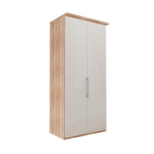 Garderobe Atlanta - Lys rustikk eik 236 cm, Med gesims, Venstre