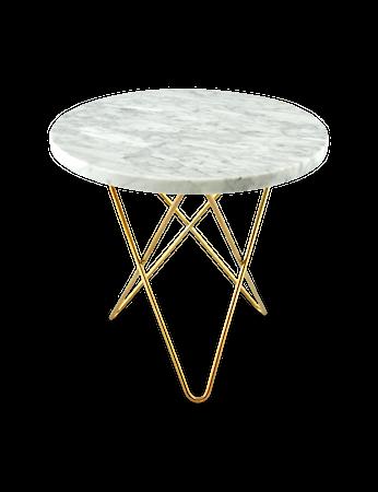 Mini O Table Matt Hvit Marmor med Messingramme Ø40