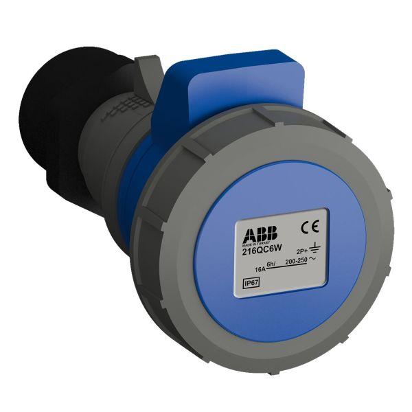 ABB 2CMA102297R1000 Skjøteuttak hurtigtilkoblet, vibrasjonsbestandig Blå, 16 A, 3-polet, IP67