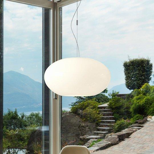 AIH-riippuvalaisin lasia 38 cm, kiiltävänvalkoinen