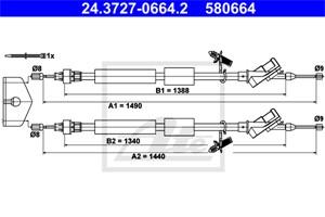 Vaijeri, käsijarru, Takana, FORD FOCUS II, FOCUS Sedan II, FOCUS Skåp / kombi II, FOCUS Turnier II, 1431308, 1492822, 1525803, 3M51-2A60