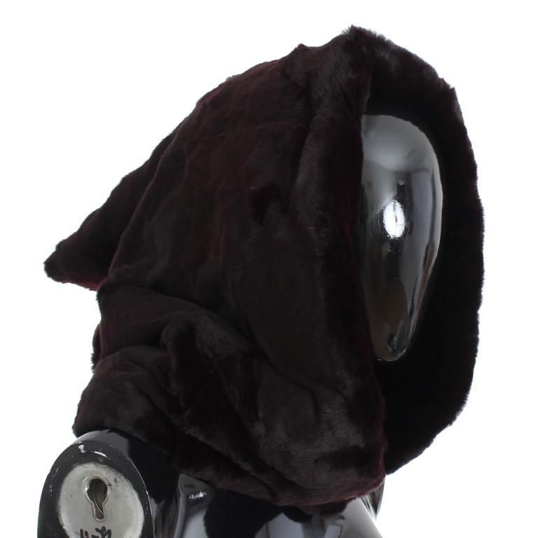 Dolce & Gabbana Women's Weasel Fur Crochet Hood Scarf Hat Gray SIG18220