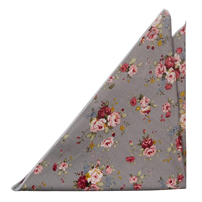 Bomull Lommetørkler, Røde, rosa og gule blomster på grått med hvit kant