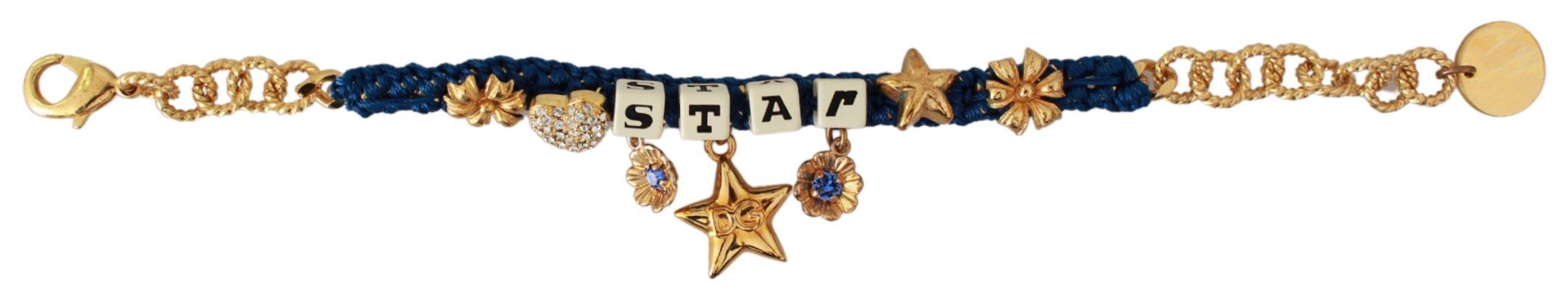Dolce & Gabbana Women's STAR Crystal Floral Charms Bracelet Gold SMY7120