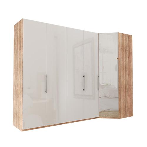 Garderobe Atlanta - Lys rustikk eik 200 cm, 216 cm, Hjørne