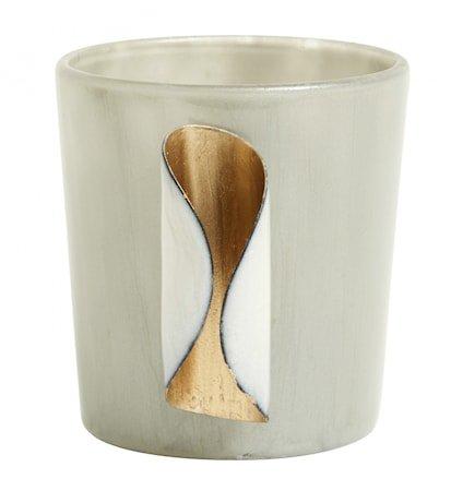 Lysholder Glass Gull Metall Grå