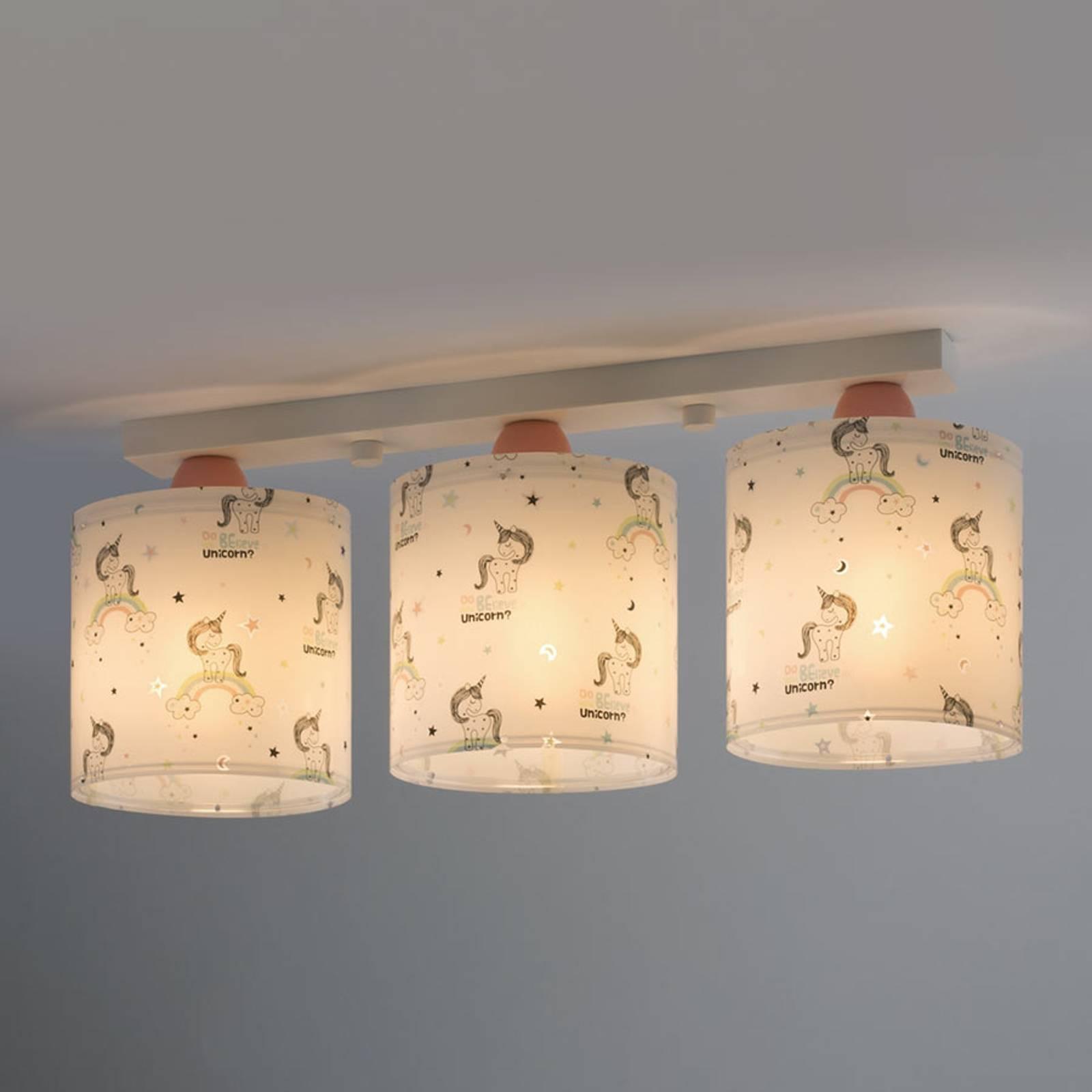 Kattovalaisin Unicorns 3-lamppuinen