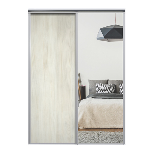 Mix Skyvedør White wood / Sølvspeil 1850 mm 2 dører