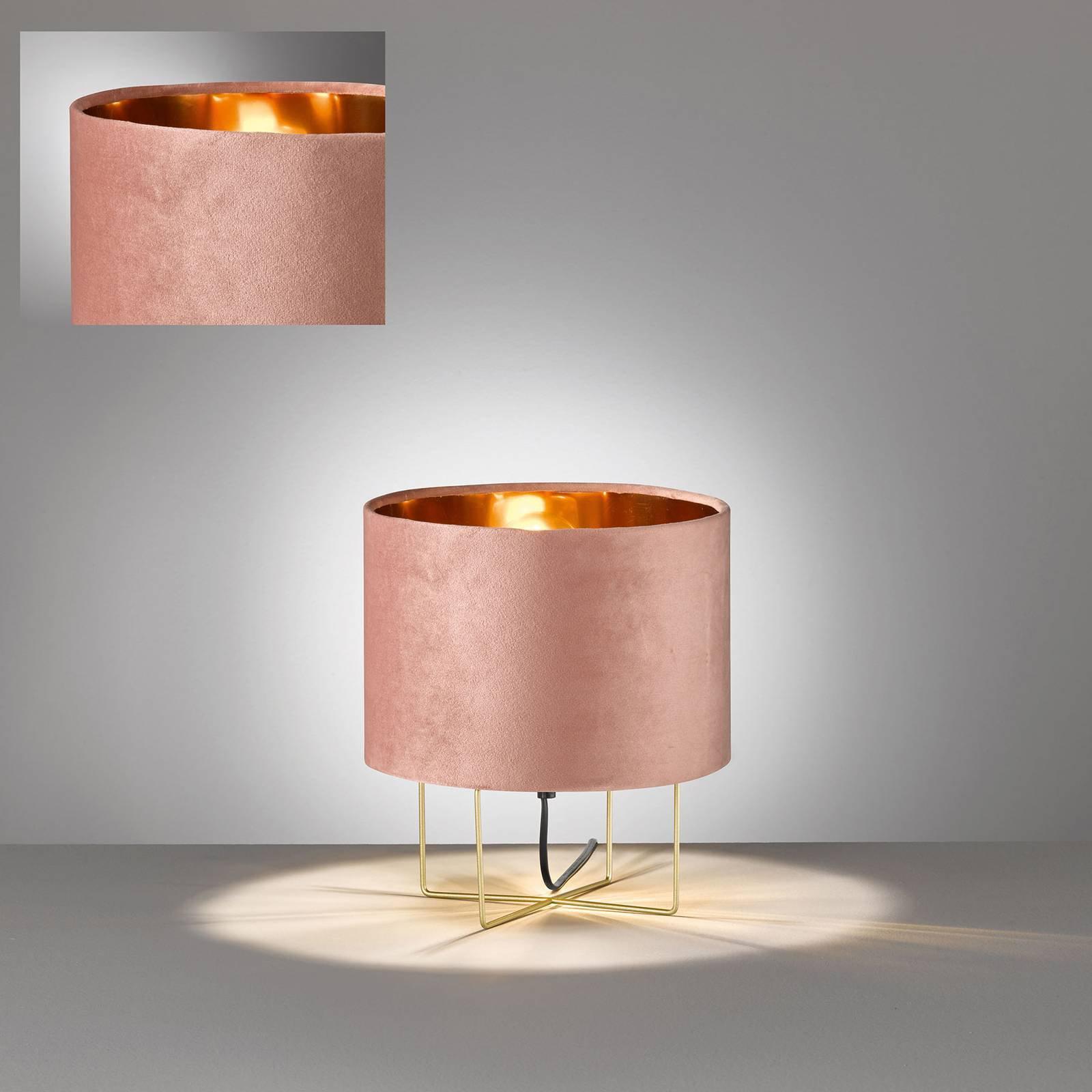 Bordlampe Aura, fløyelsskjerm, høyde 32 cm, rosa