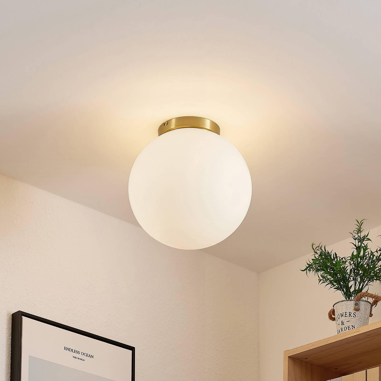Lindby Meriala taklampe, messing, glass Ø 30 cm