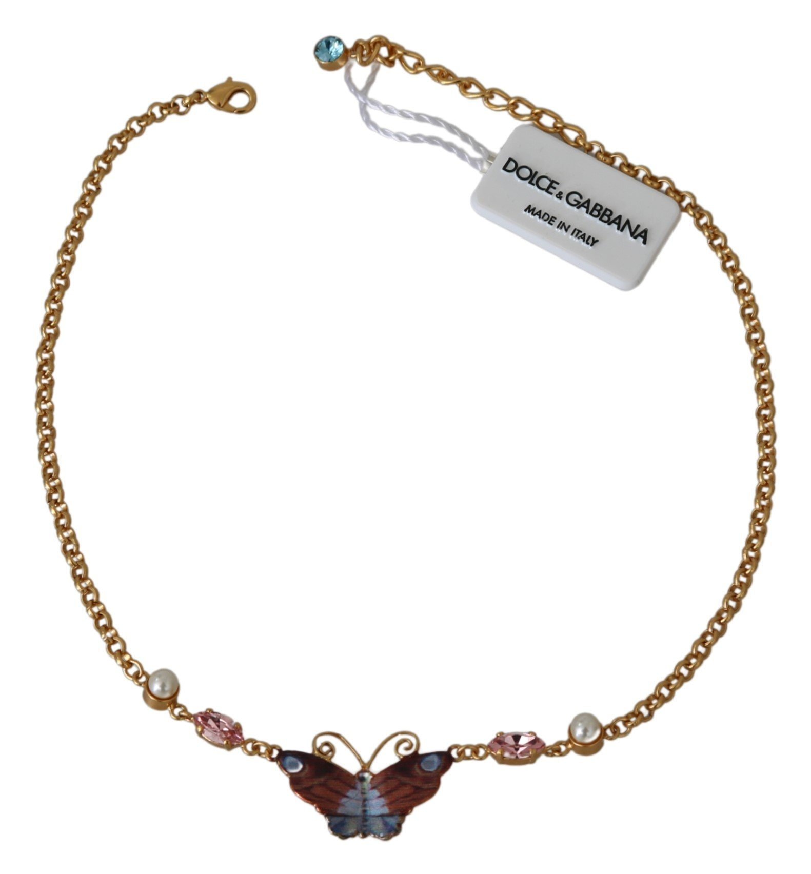 Dolce & Gabbana Women's Crystal Floral Butterfly Chain Necklace Gold SMY7149