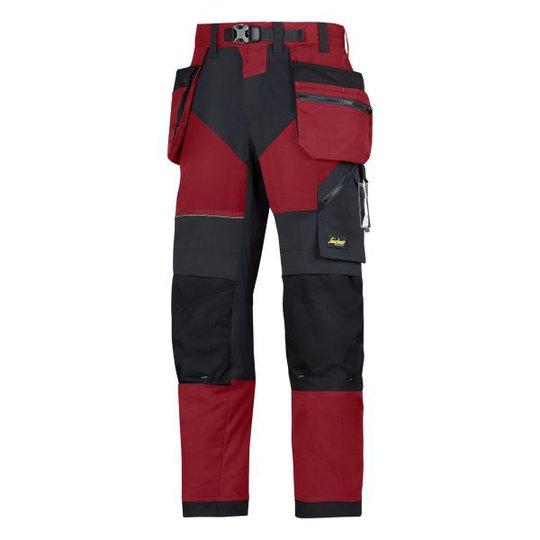 Snickers 6902 FlexiWork Työhousut punainen/musta C44