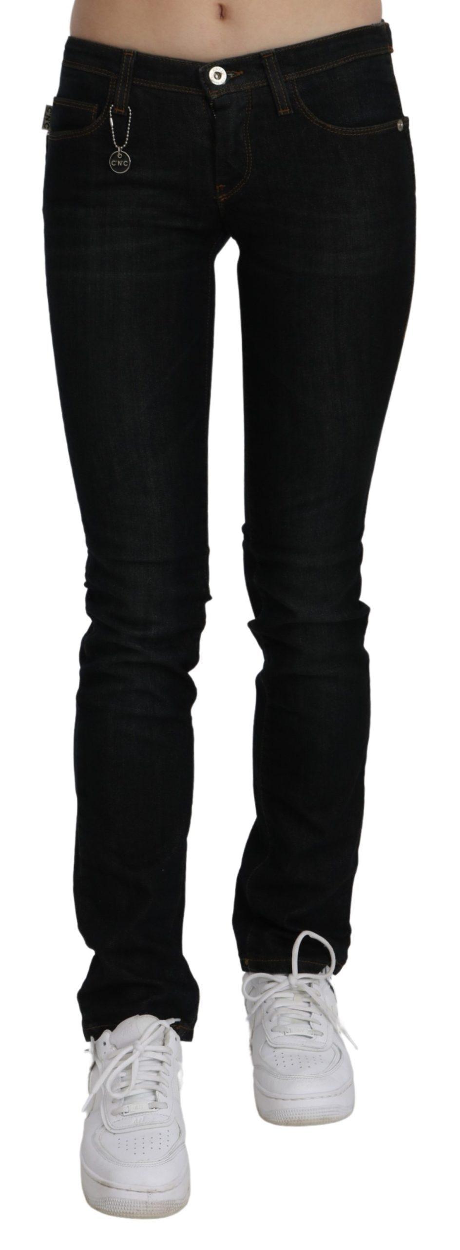 Costume National Women's Mid Waist Skinny Denim Cotton Jeans Black PAN70658 - W24