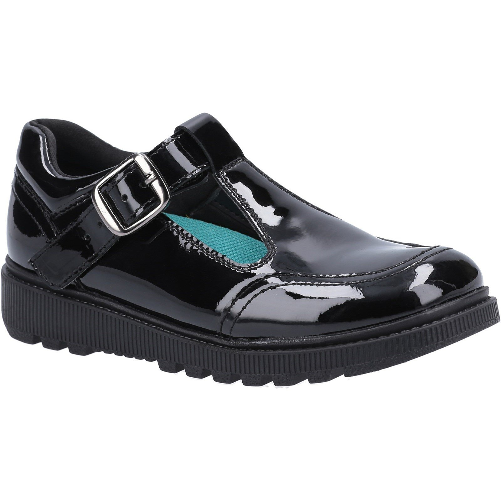 Hush Puppies Kid's Kerry Senior School Shoe Patent Black 30820 - Patent Black 7