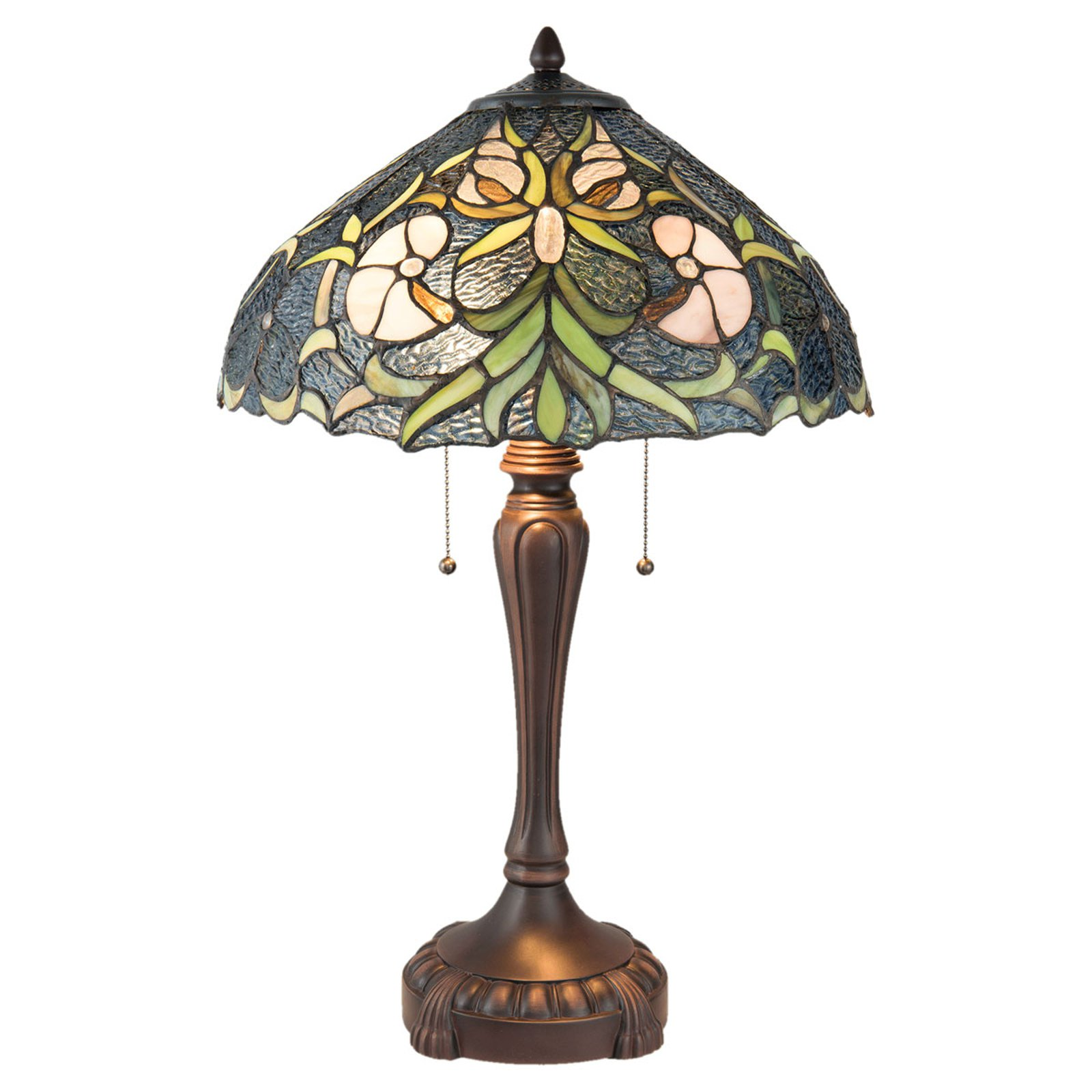 5922 bordlampe i Tiffany-stil, 2 lyskilder, blå