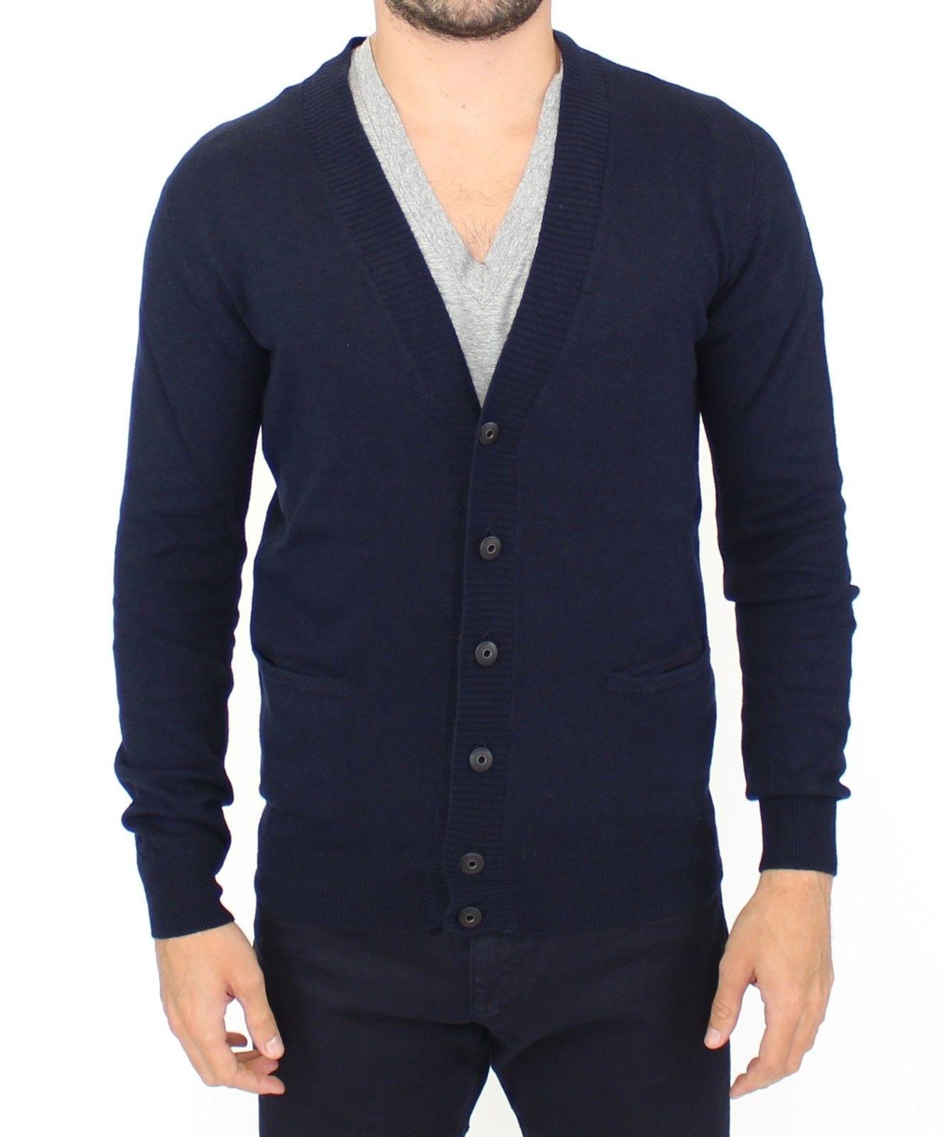 Ermanno Scervino Men's Cashmere Cardigan Blue SIG10106 - IT50 | M