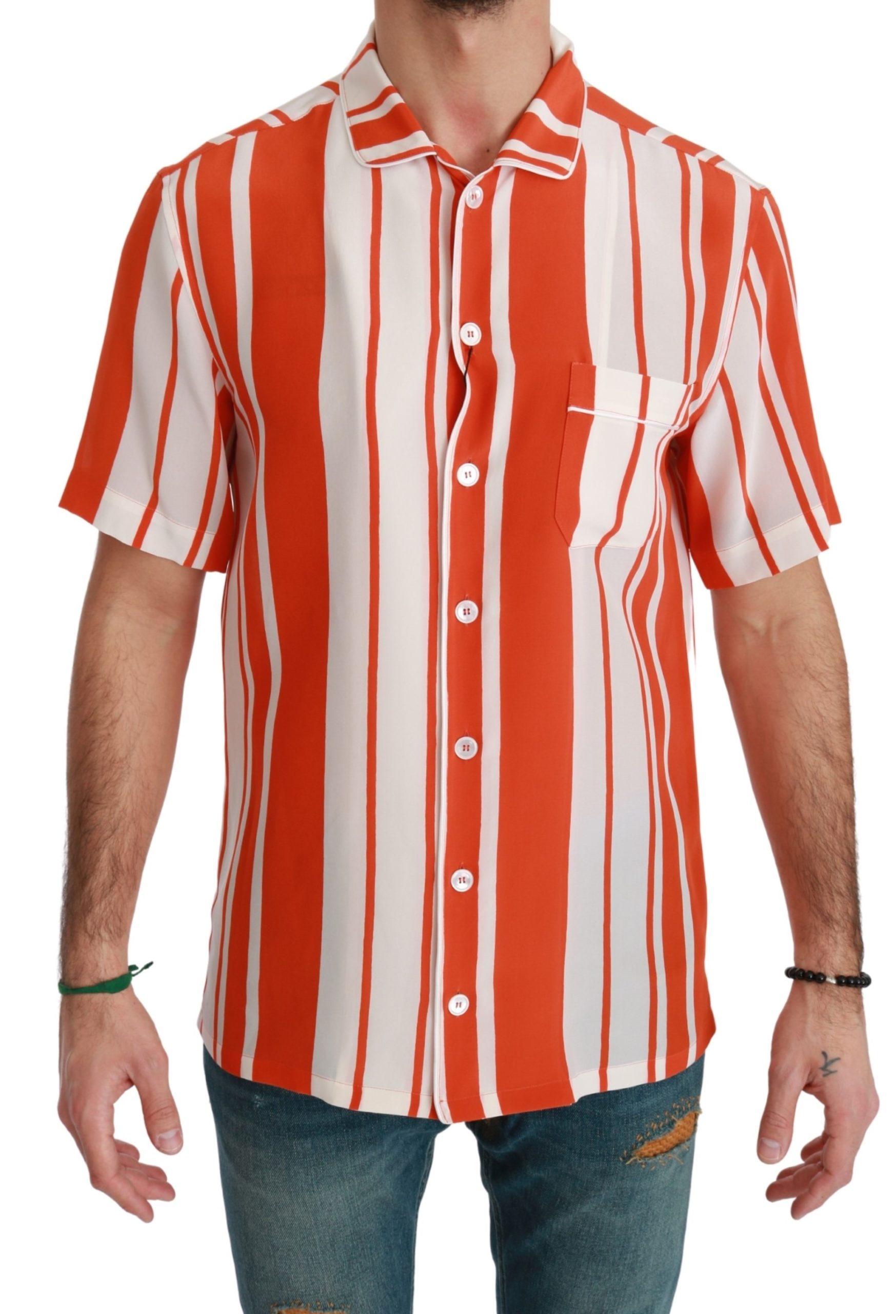Dolce & Gabbana Men's Silk Striped Short Sleeve Shirt Orange TSH4655 - IT38   XS