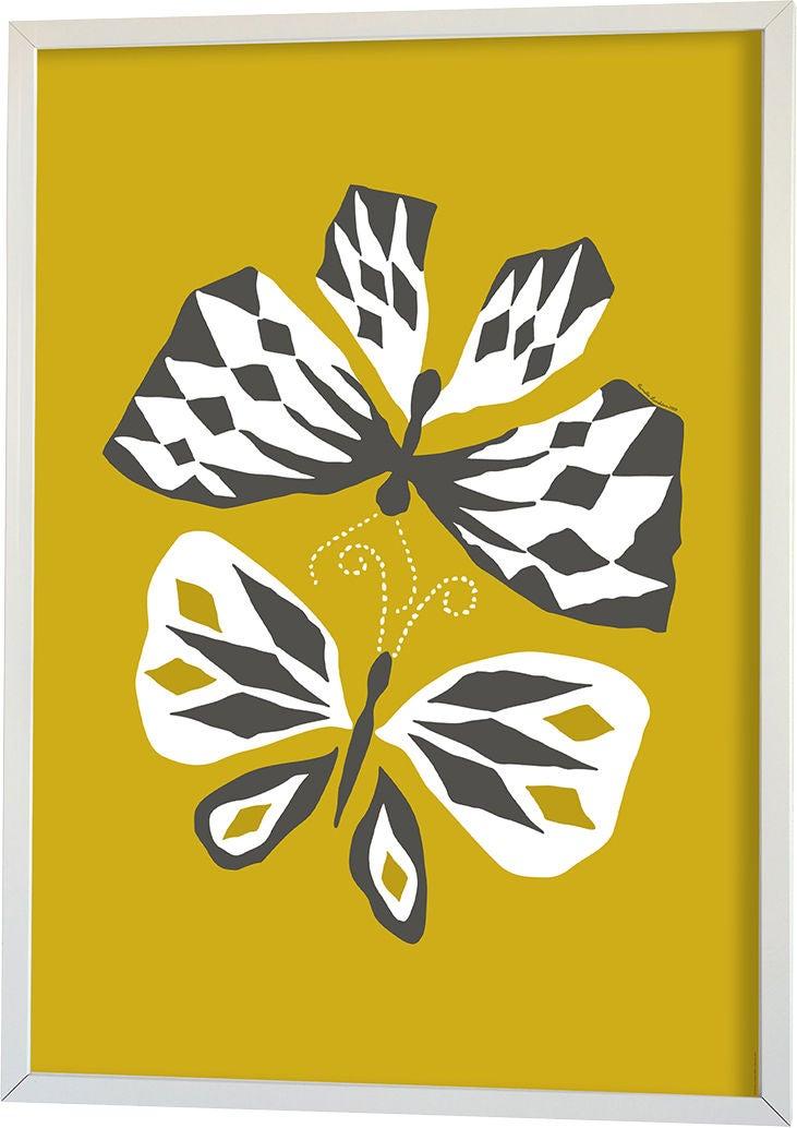 Littlephant Juliste Graphic Print Butterfly Love 70x100, Yellow