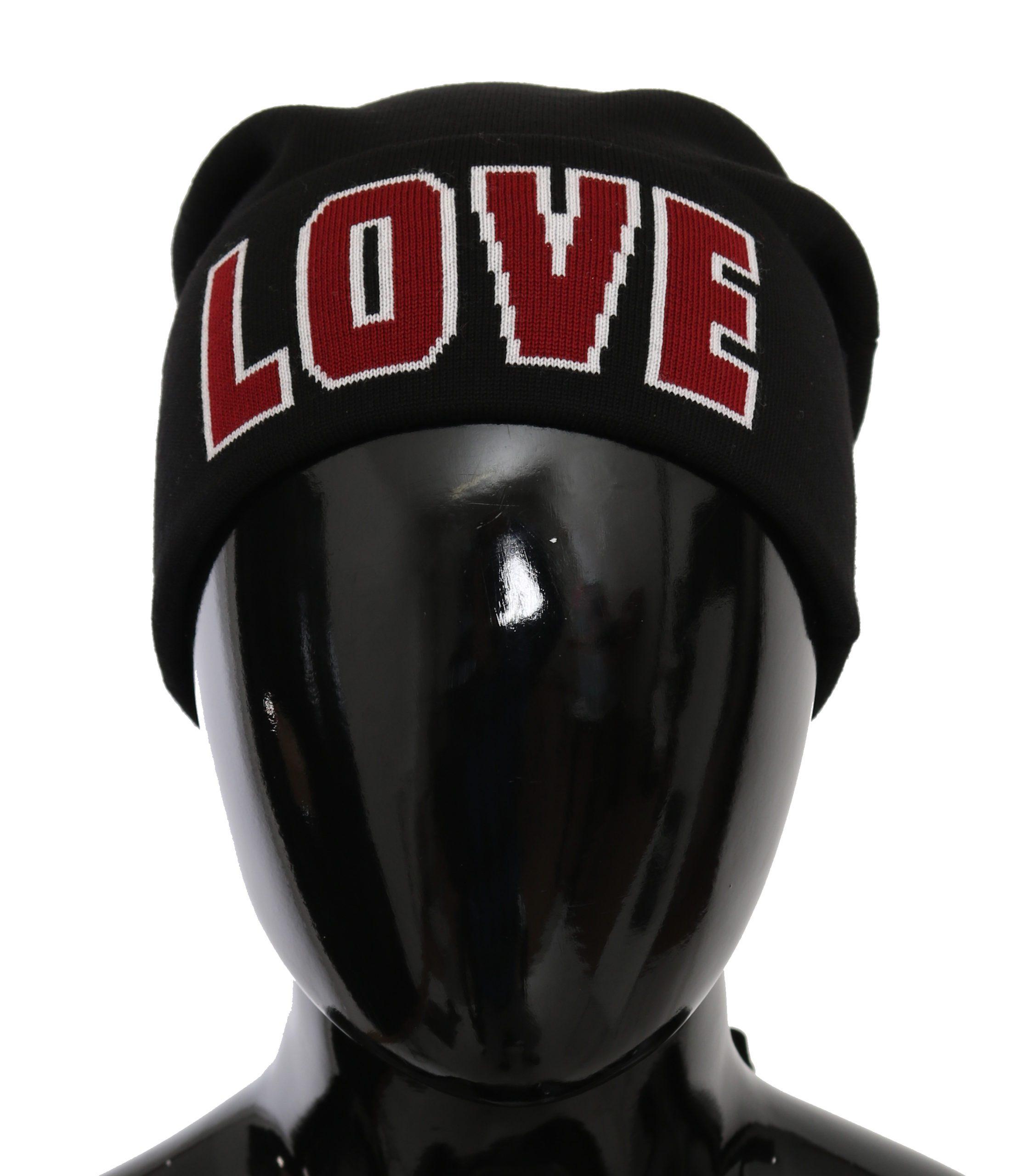 Dolce & Gabbana Men's Love Knitted Virgin Wool Hat Black HAT9054
