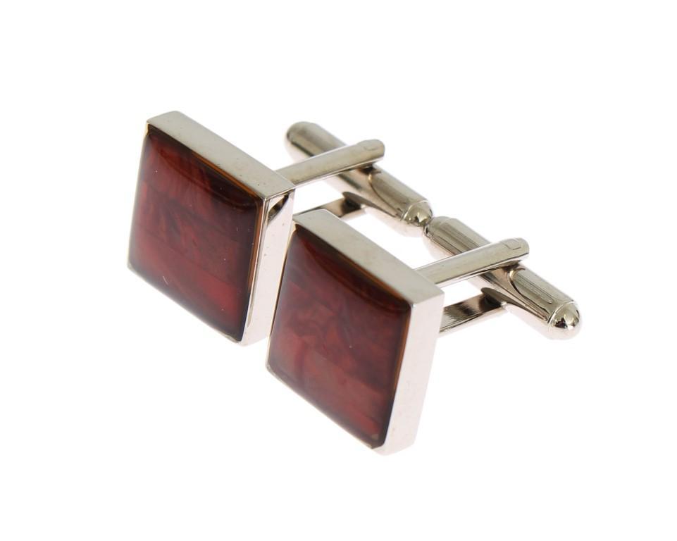 Dolce & Gabbana Men's Brass Square Stone Cufflinks Silver SIG31507