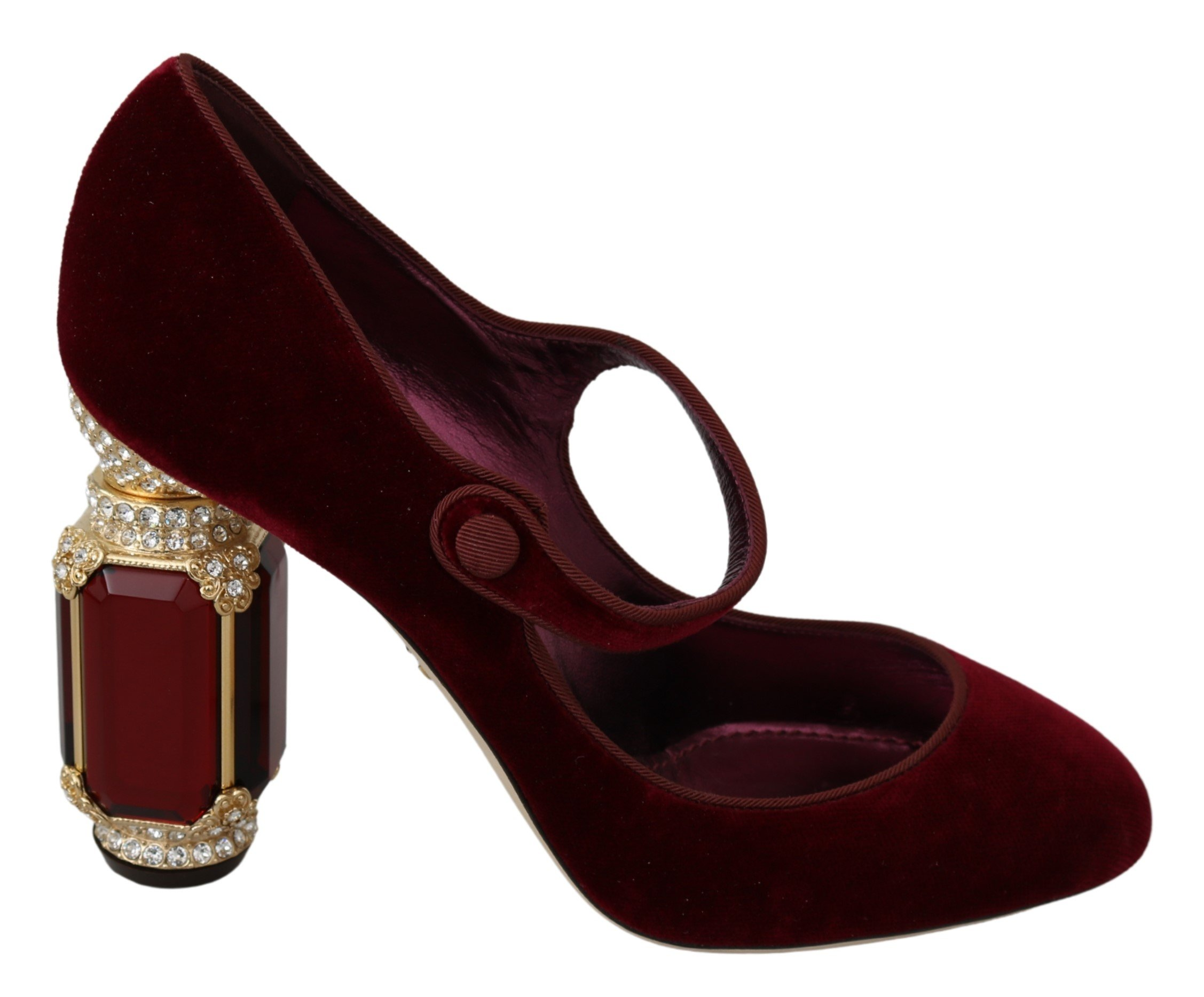 Dolce & Gabbana Women's Crystals Mary Jane Heels Red LA6851 - EU39/US8.5