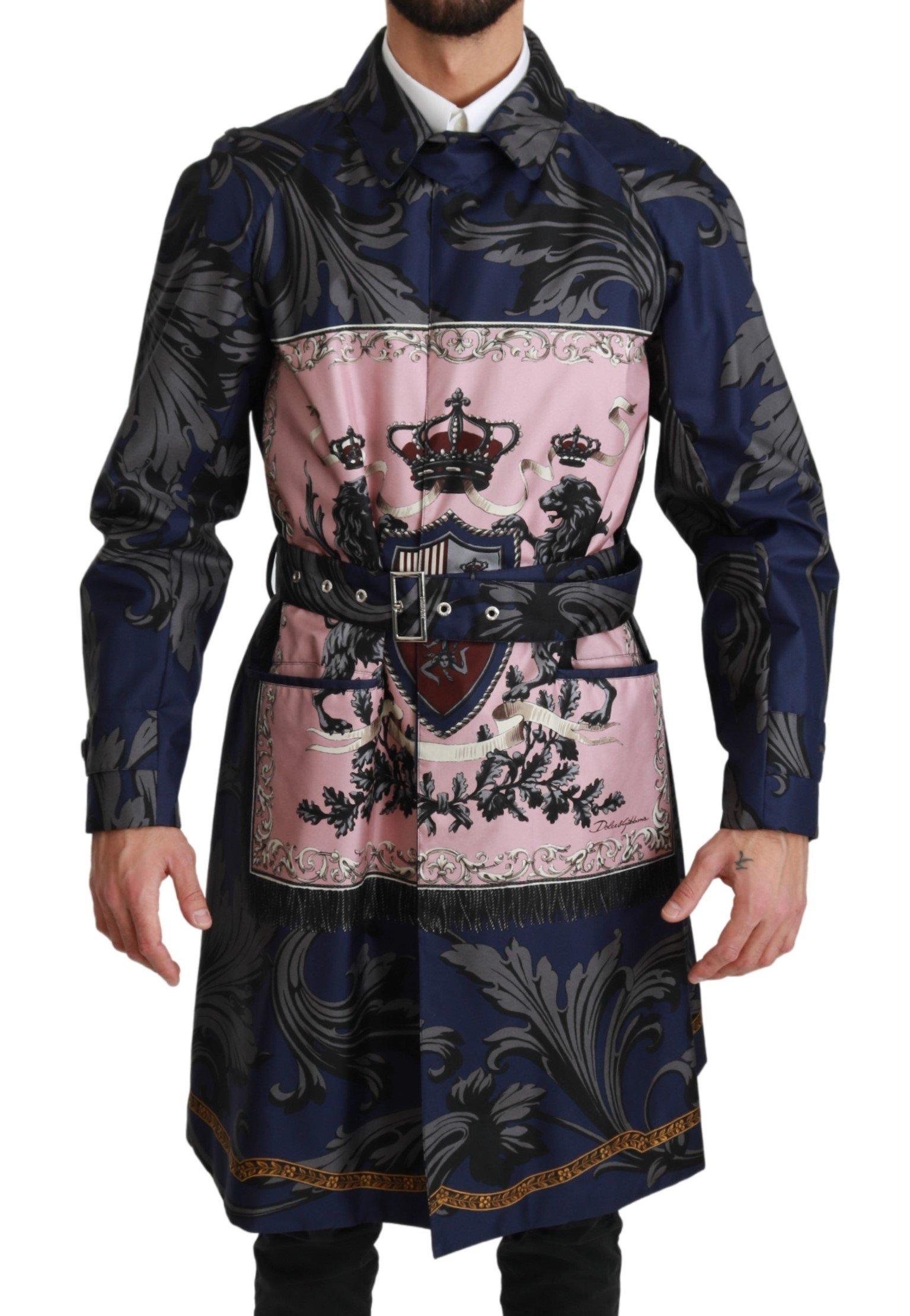 Dolce & Gabbana Men's Royal Crown Trenchcoat Silk Jacket Blue JKT2597 - IT44 | XS