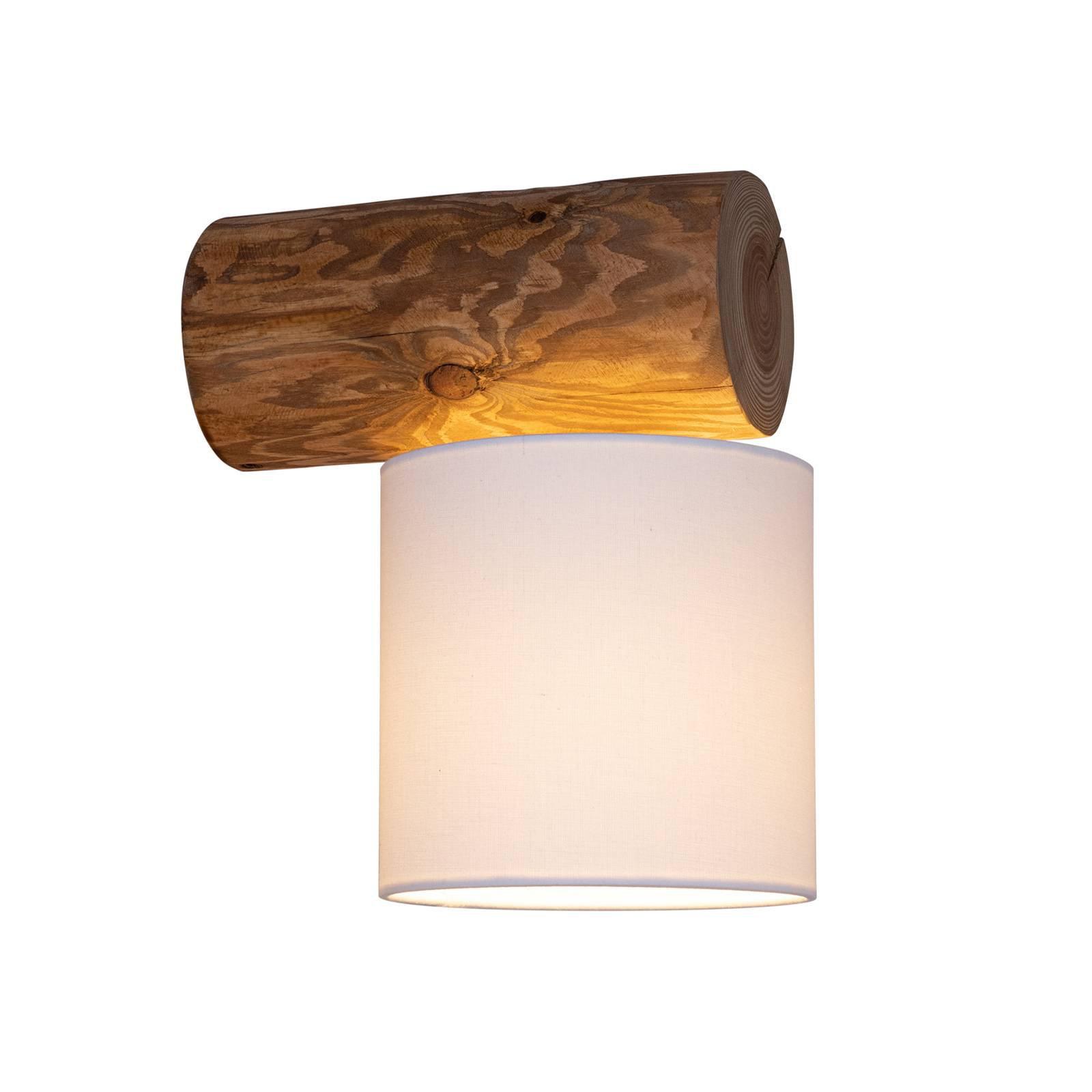 Vegglampe Pino Simple, skjerm hvit, stamme brun