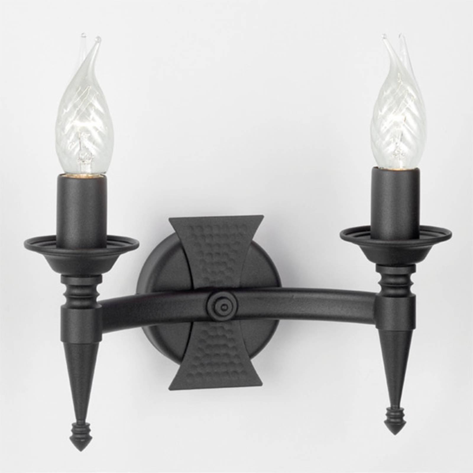SAXON vegglampe i svart med to lys