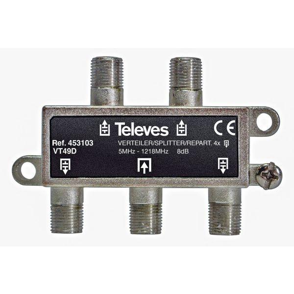 Televes VT49D Fordeler 5–1218 MHz, F-tilkobling 4-veis