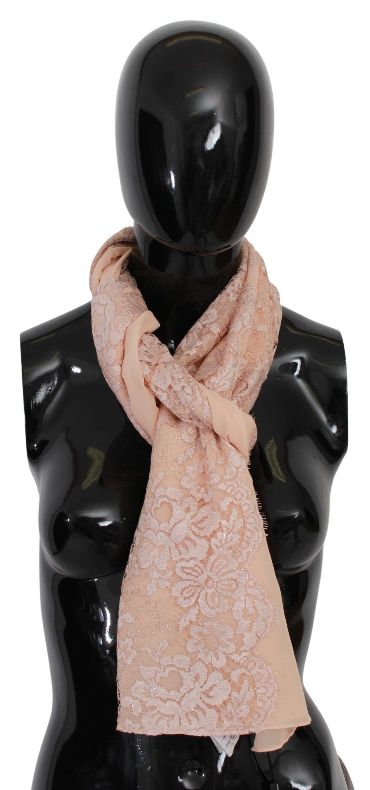 Dolce & Gabbana Women's Floral Lace Neck Wrap Silk Scarf Pink MS1676