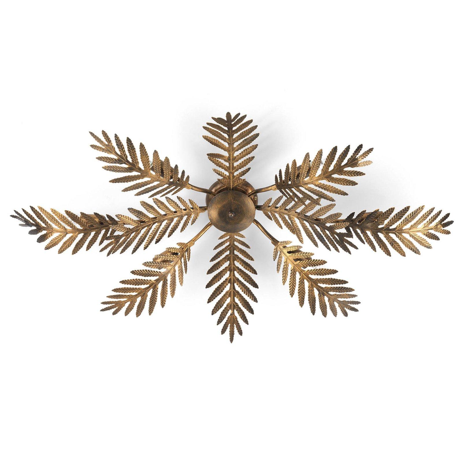 Taklampe Felce som bregne i bronse, 105 x 60 cm