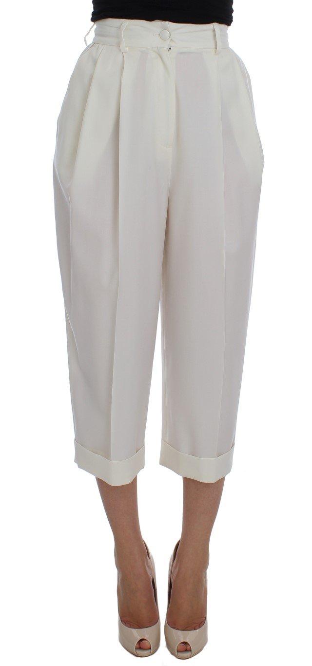 Dolce & Gabbana Women's Wool Capri High Waist Trouser White SIG20048 - IT40|S
