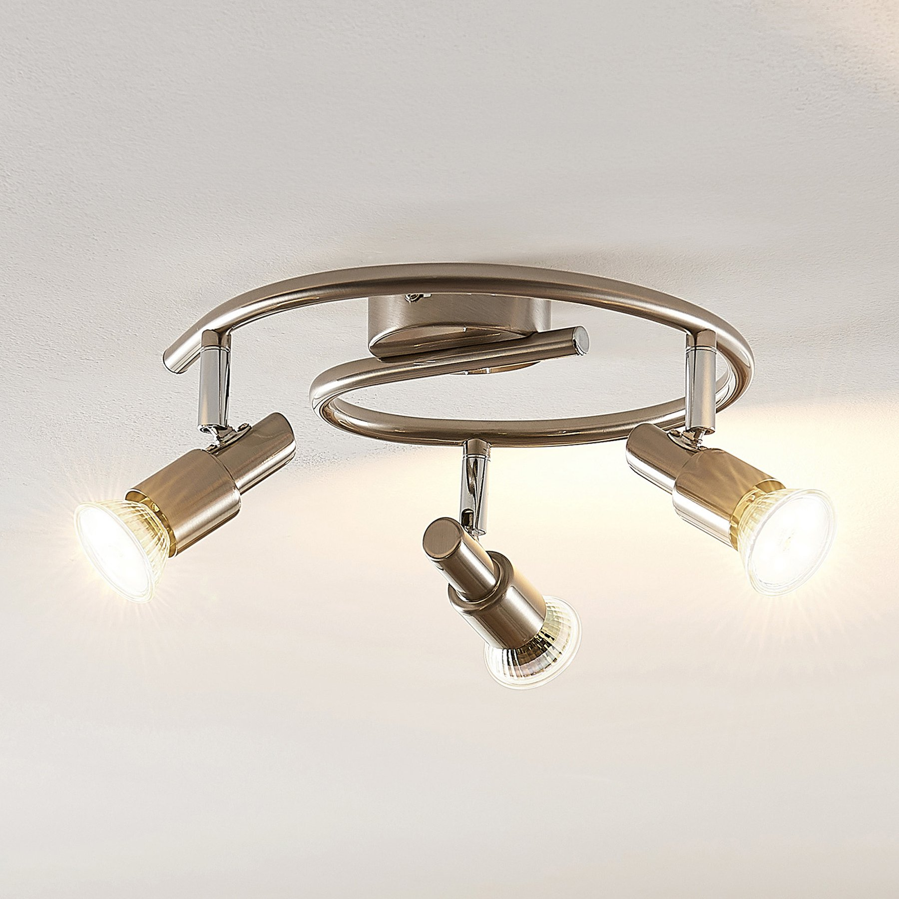 ELC Farida LED-taklampe, nikkel, 3 lyskilder