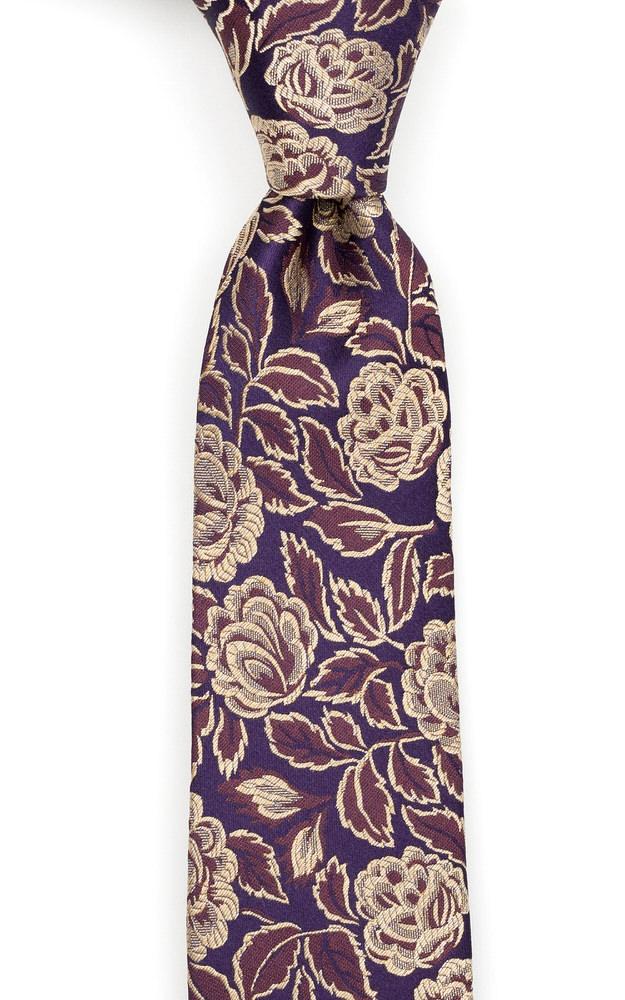 Silke Smale Slips, Blomster i gull & kanel på mørk aubergine, Gull, Blomstrete