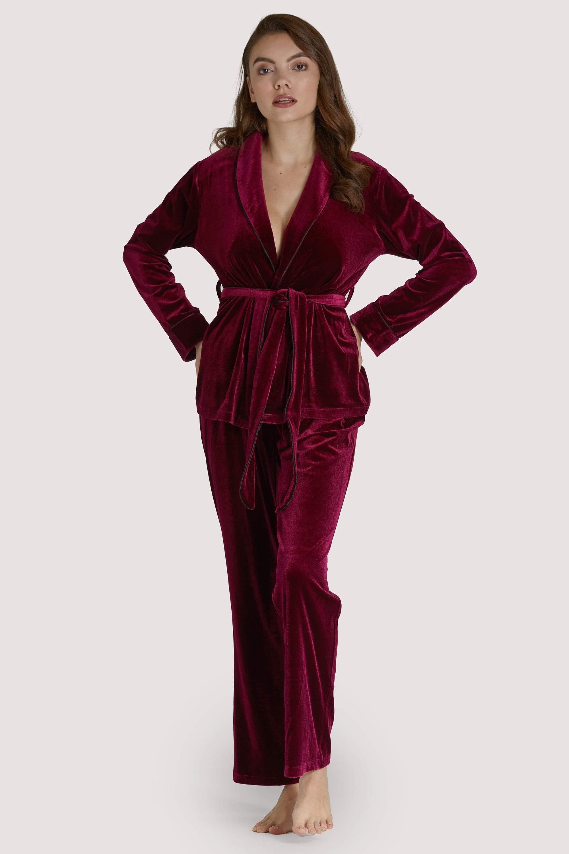 Playful Promises Velvet Wine Red Pyjama Set UK 8 / US 4